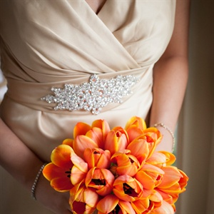 Orange Tulip Bridesmaid Bouquets