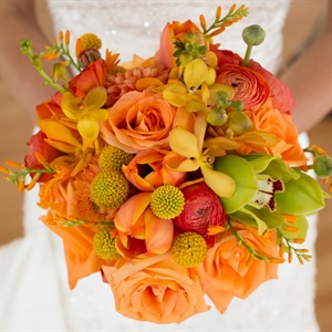 Orange Rose Bridal Bouquet