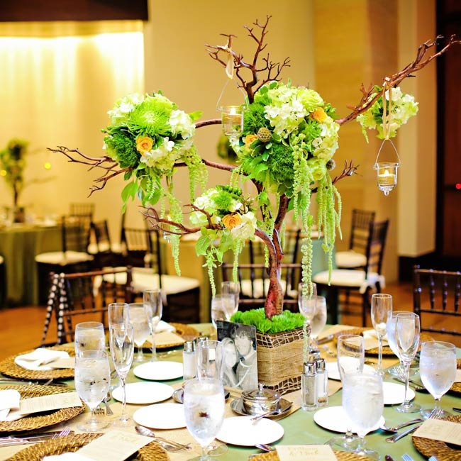 Each table had an elaborate miniature tree centerpiece with bright green pomanders and hanging votive candle holders.