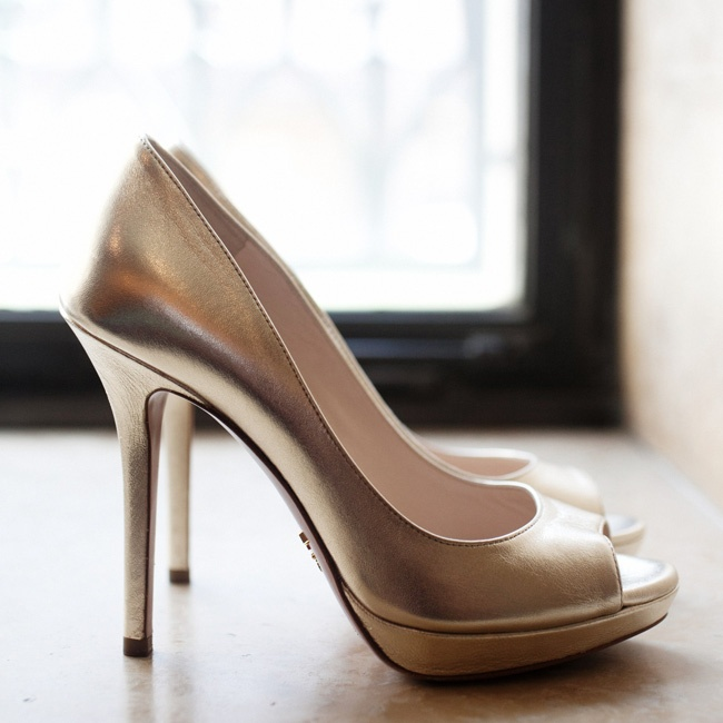 Bridesmaids wore these champagne peep-toe heels down the ceremony aisle.