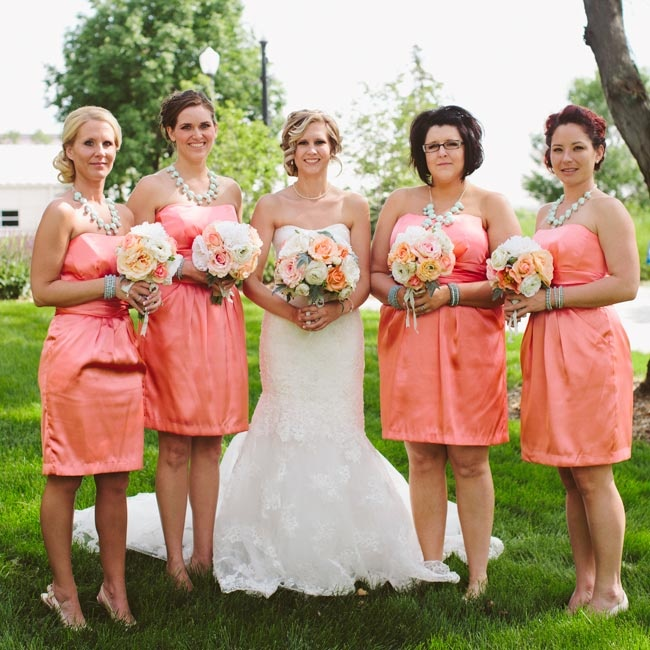 The Bridesmaids Accessorized Their Coral Strapless Dresses