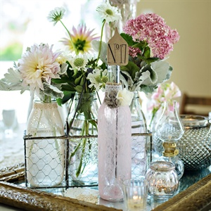 Lace Covered Bottle Decor