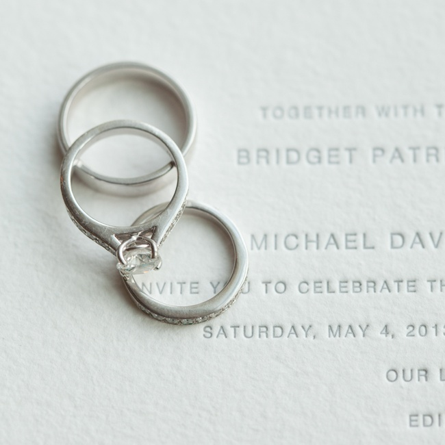 The couple's invitation was modern, letterpress and very simple. The paper was a white cotton and the letterpress was platinum gray with a slight sheen.