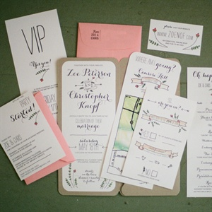 Pink and White Invitation Set