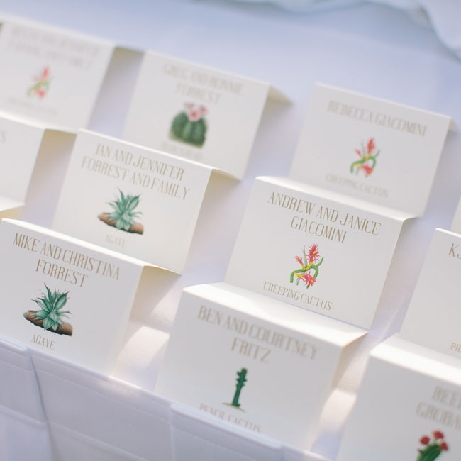 Escort Cards had different types of Southwestern plants printed on them.