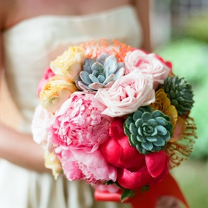 Pink and Yellow Rose and Peony Bridal Bouquet