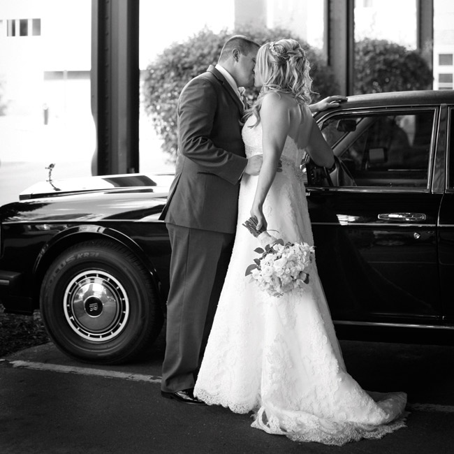 "The couple traveled to the reception in a black vintage Rolls-Royce that belongs to a friend of Callie's family. ""It was so beautiful, and our photographer rode with us so she was able to take lots of fun pictures,"" Callie says."