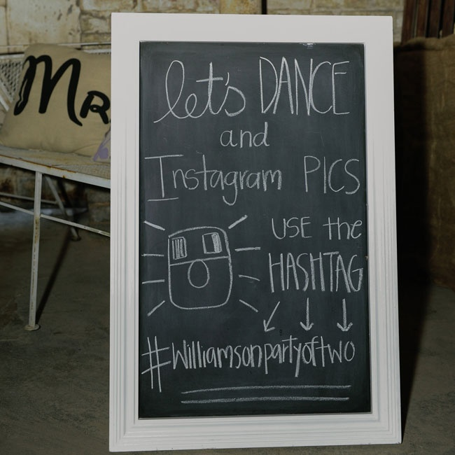 The couple made sure to capture memories from the reception with their own personalized Instagram hashtag.