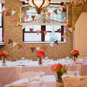 Colorful Bunting Reception Decor