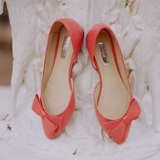 "Katie found her bridal shoes even before she chose her gown! ""I couldn't resist how playful they were,"" she says of her Halogen flats."