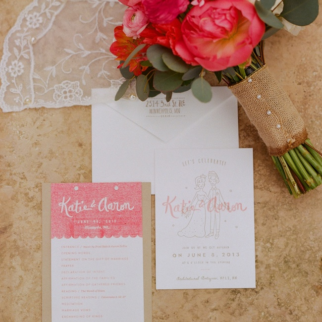 The couple designed their own invitations, programs and signage for their wedding. They worked with Dick & Jane Letterpress for the custom printing of their invitations.