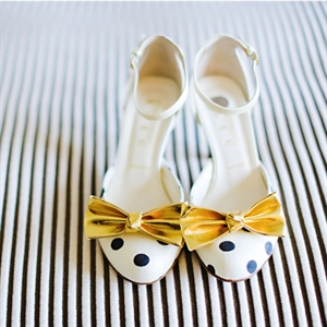Gold Bow Bridal Shoes