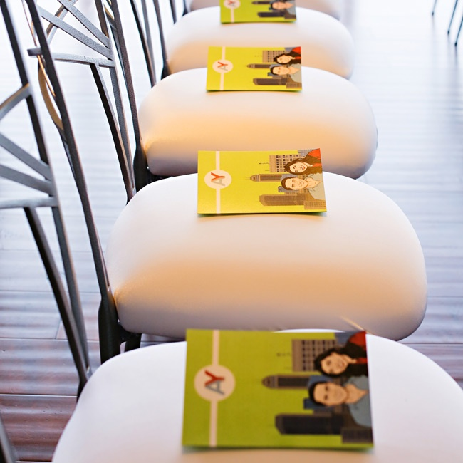 The couple's ceremony programs were bright green and had a picture of the couple on them.
