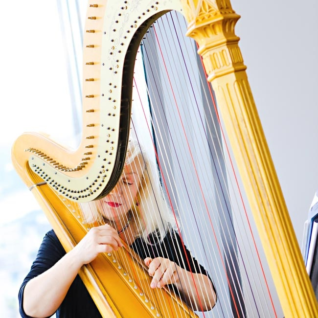 The bridesmaids and bride walked down the aisle to the classic sound of a harp.
