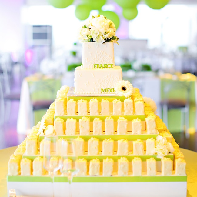 An enormous tiered, square display was set up for popcorn and cake.