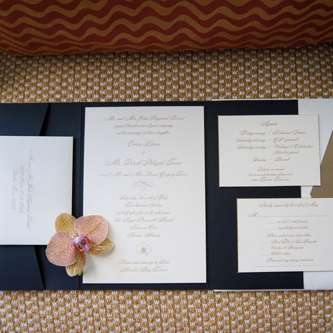 The couple's formal invitation suite was written in metallic ink.