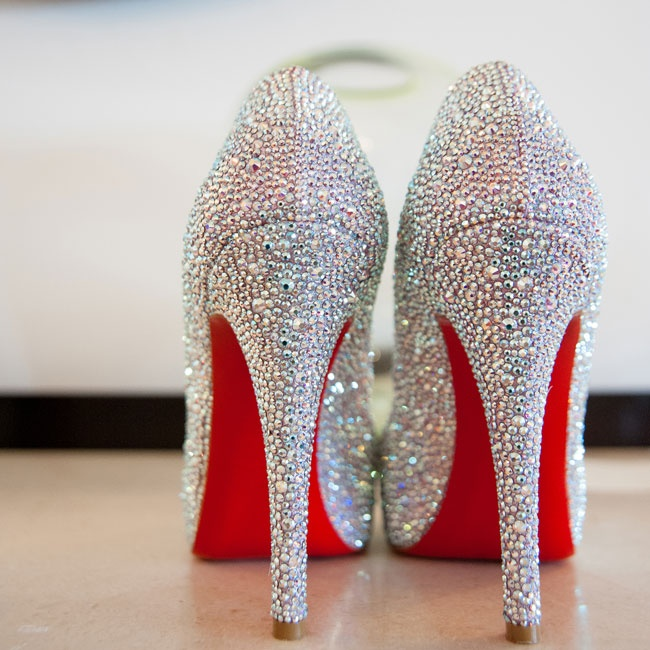 The bride sparkled down the aisle in these jewel-encrusted heels.