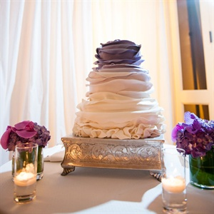 Purple Ruffled Wedding Cake