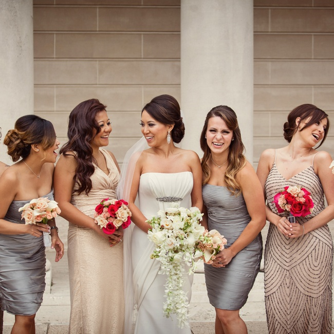 The bridesmaids wore gowns in various styles, all in neutral and metallic shades for a look of modern elegance.