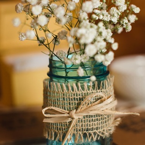 Baby's Breath Mason Jar Centerpieces