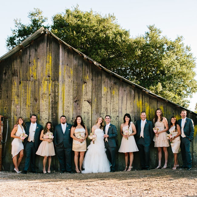 The bridesmaids wore champagne colored dresses in a variety of styles, while the guys wore classic gray suits with champagne vests and ties to complement their look.