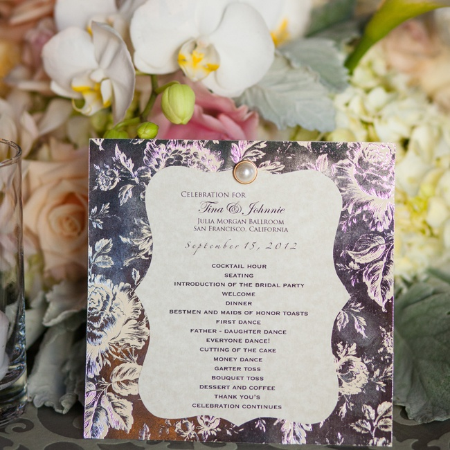 A formal floral agenda with pearl accents outlined the day's festivities and were tucked into the linens at each place setting.