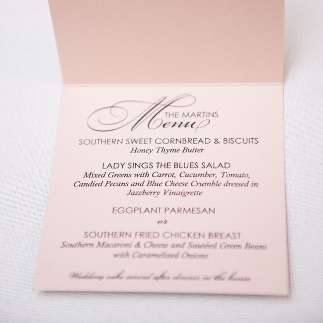 The couple chose classic ecru menus with a simple modern typefaces for a sophisticated look.