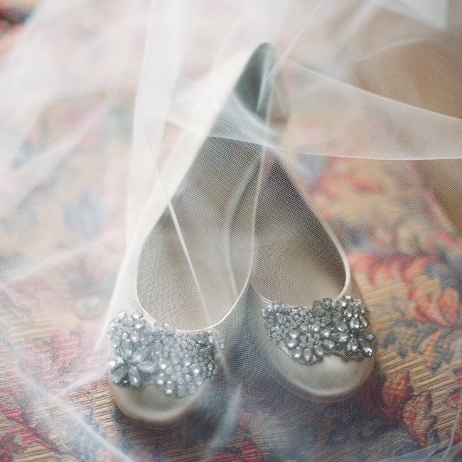 Rebekah picked up these bejeweled neutral flats from hautlook.com to wear down the aisle.
