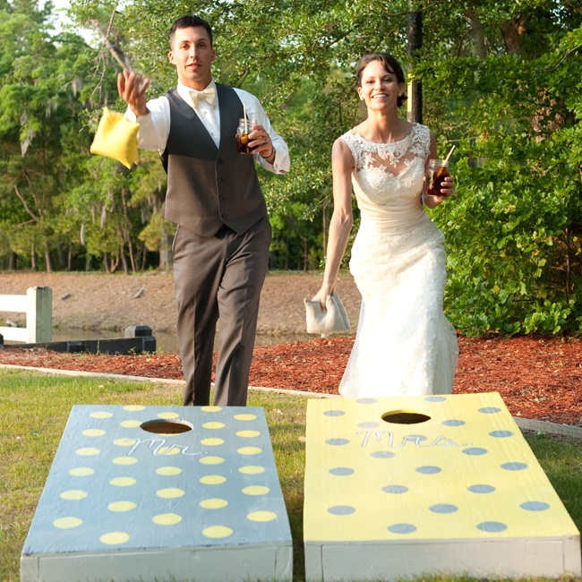 The couple and their guests  got competitive with fun lawns games like cornhole during cocktail hour.