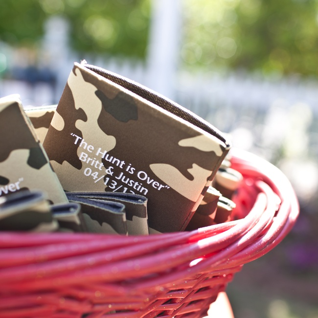 Guests kept their drinks cool with customized camo koozies.
