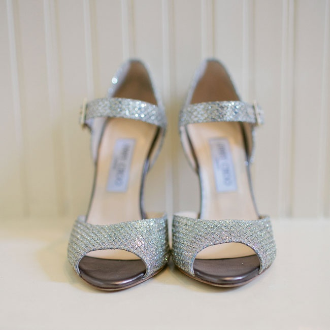 The bride donned these sparkly Jimmy Choo peep-toes on her wedding day.