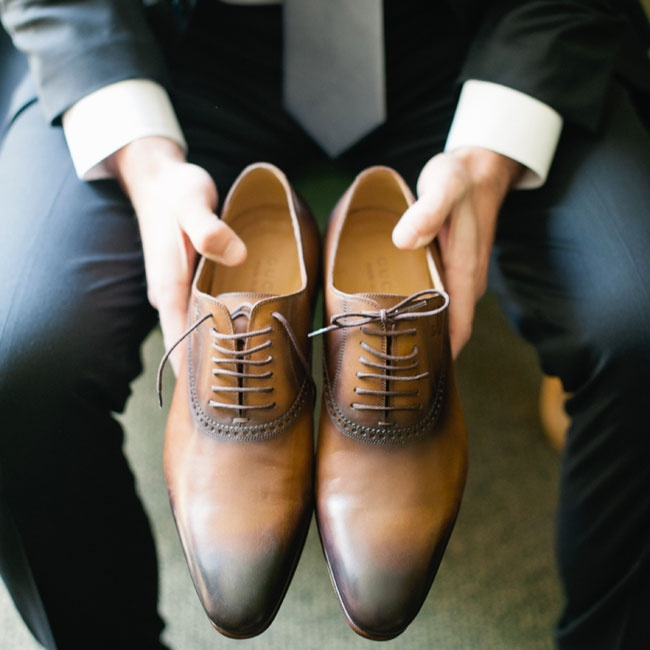 The groom laced up these brown leather Gucci dress shoes for his trip down the aisle.