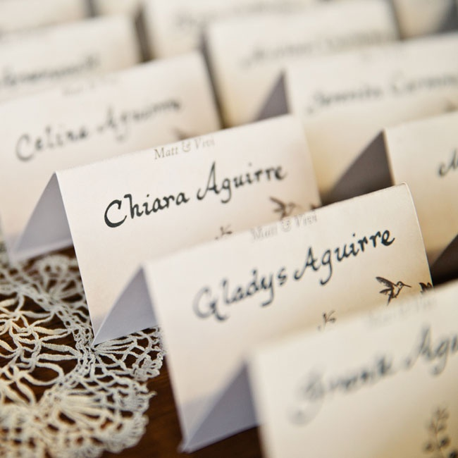The couple used Kathryn Murray Calligraphy to hand write each one of their escort cards.