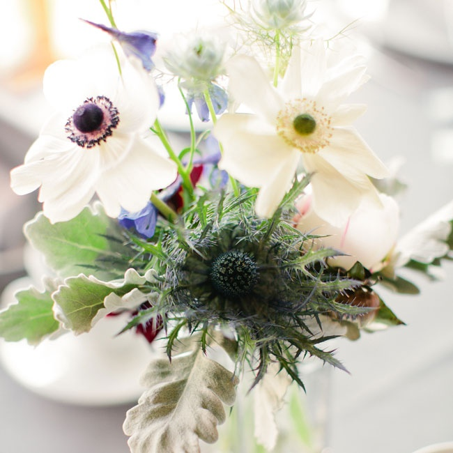 The reception centerpieces were filled with lamb's ear, anemones and thistles.