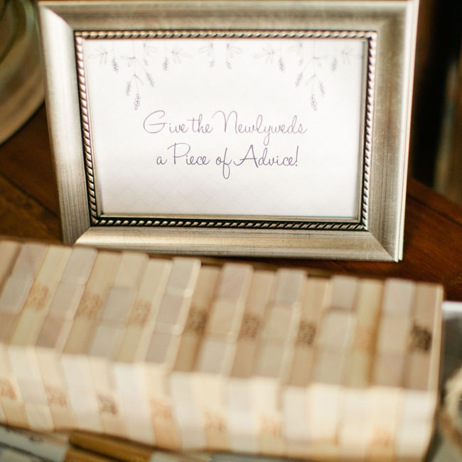 Guests were encouraged to leave advice for the bride and groom on this Jenga set.