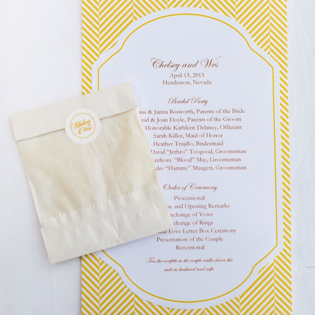 The programs were printed on bright yellow herringbone paper, mixing a classic print with a fresh pop of color. Along with each program was a small packet of confetti, which the couple asked their guests to toss as they exited the ceremony.