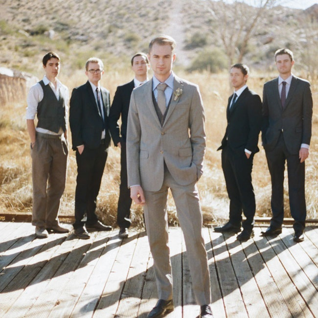 Brett's tailored three piece suit in natural shades had a classic, timeless appeal. The groomsmen wore their own suits in black and gray.