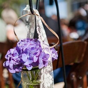 Rustic Purple Hydrangea Aisle Markers