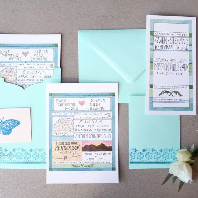 The couple chose a mint and hand illustrated invitation suite for their wedding.