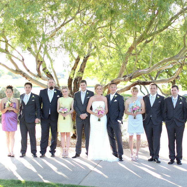 Groomsmen and bridesmaids picked their own attire and the matching groomsmen ties were gifts from the groom's parents.