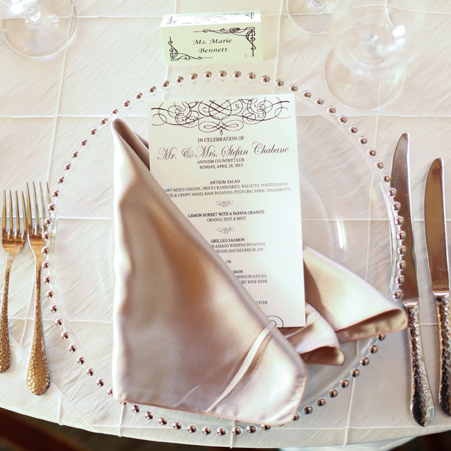 Linens, tableware and formal menu and place cards were provided by the reception venue, The Anthem Country Club.