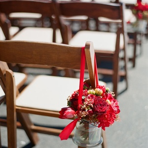 Bright Red Floral Aisle Markers