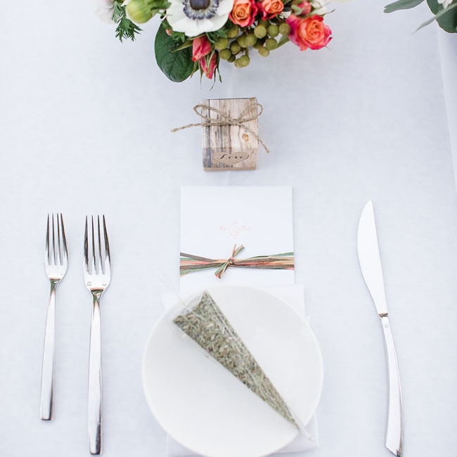 Places were set with modern cutlery and guests each had a bundle of rosemary herbs on their dishes.