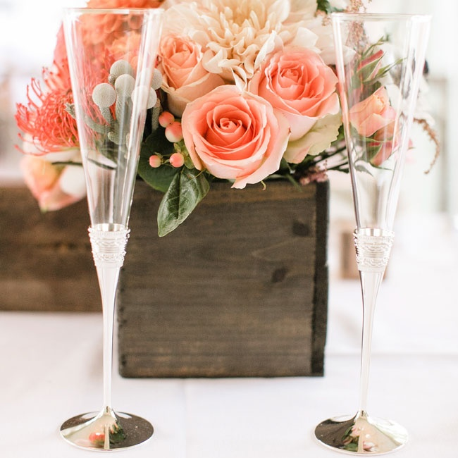 The couple drank champagne out of these modern triangular flutes at the reception.