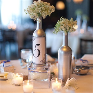Silver Wine Bottle Centerpieces