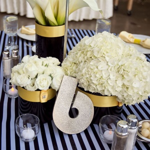 Black, Yellow and Ivory Centerpieces