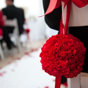 Red Pomander Aisle Markers