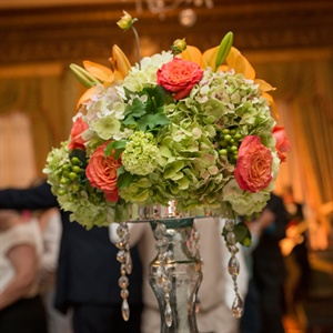 Green and Coral Centerpieces
