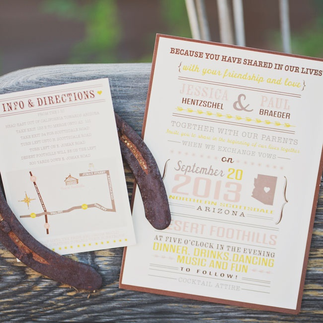 Jessica and Paul's invitations combined a mix of modern fonts in pink, yellow and brown and had an Arizona motif.