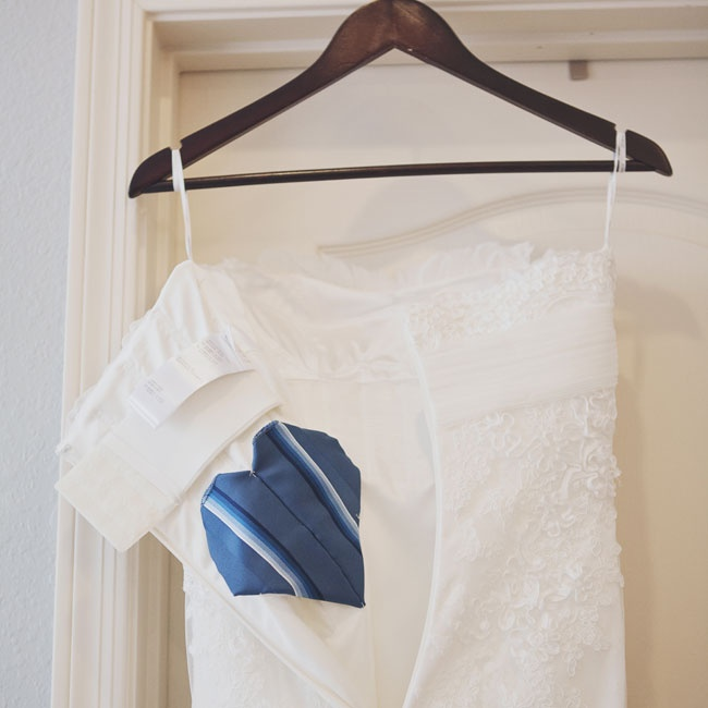 Jessica's something blue was a blue fabric heart that she sewed into the inside of her dress.